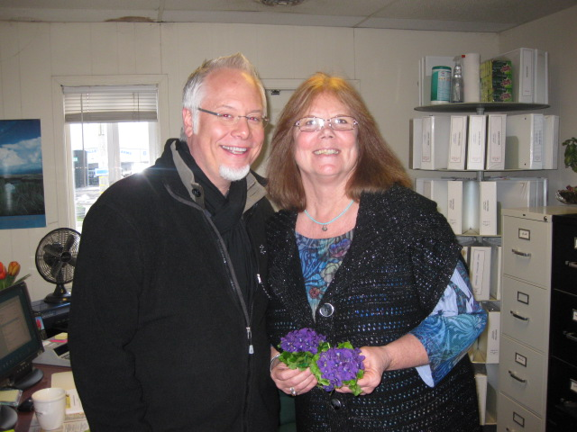 Tina Uhl and J Schwanke at Sun Valley Group in Arcata with Don Garibaldi Violets from Ano Nuevo