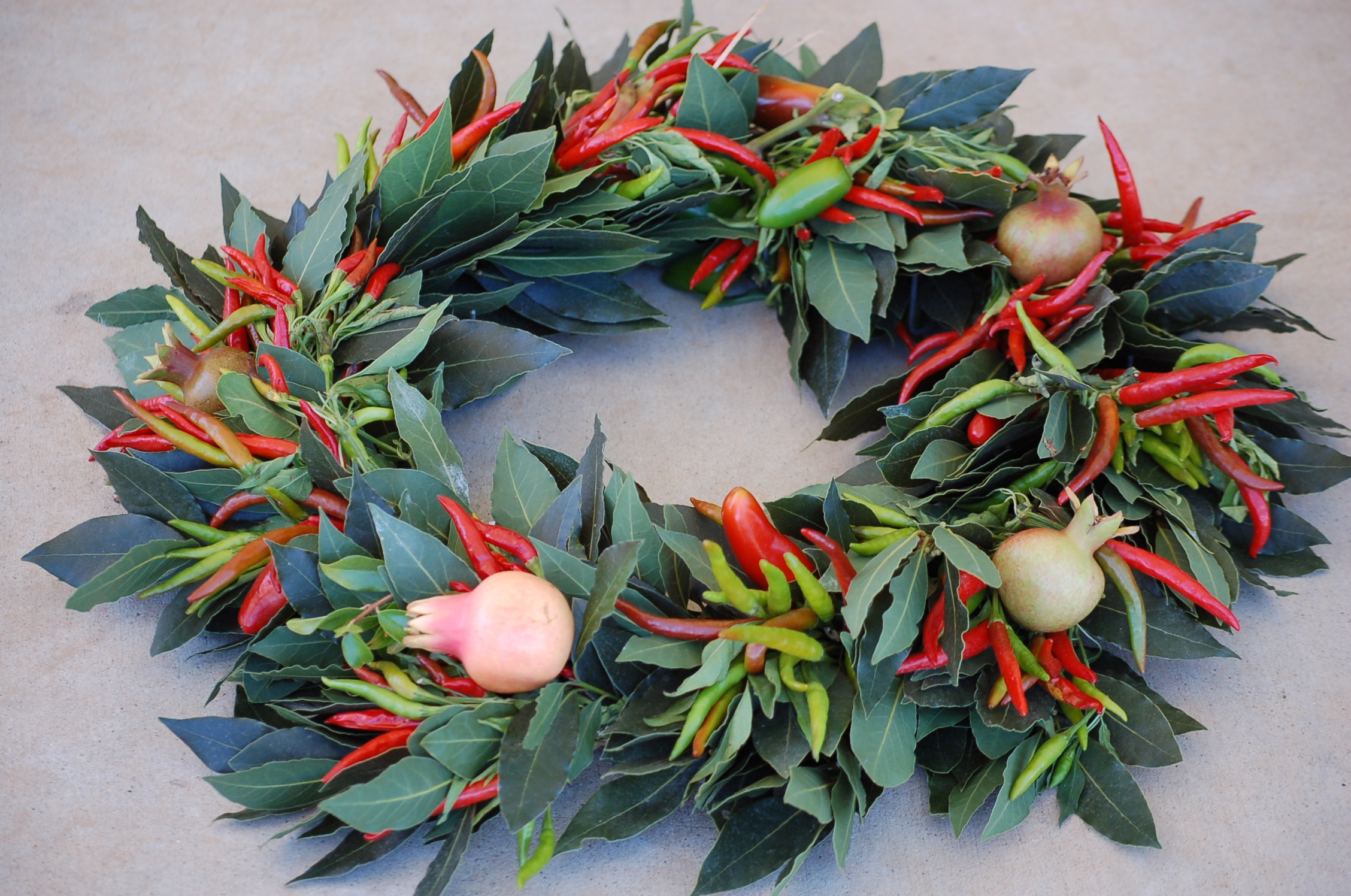 Bay leaf and pepper wreath designed by Diana Roy