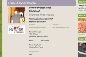 Erik's uBloom Profile promoting his Business Flowers Washougal!