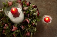 Decorating with Protea Wreaths and SNOW for Christmas