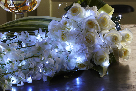How to create a Hand Tied Cascading Wedding Bouquet with LED Lights