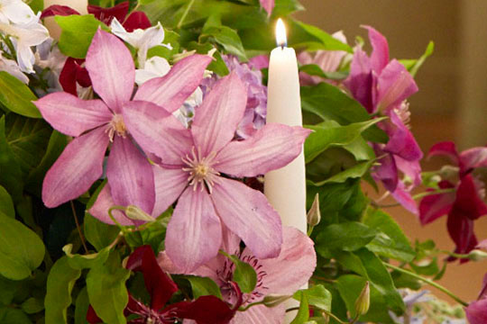 How to arrange flowers: Clematis Candelabra with Regal Tapers