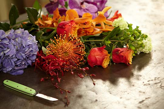 How to Arrange Flowers_Flower Care, Flower Food and Cutting with a Knife