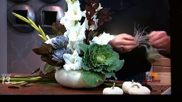 Take 5 with J - White Pumpkin Arrangement