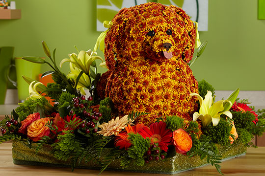 How to Arrange Flowers_Dog Sculpture made of Flowers!