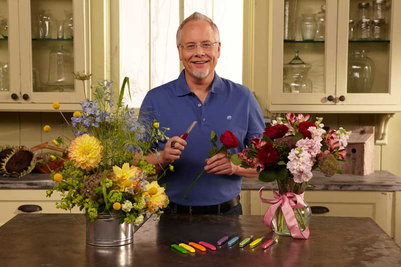 Cut flowers with Swiss army knife