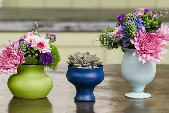 Shabby Chic reclaimed containers with flowers