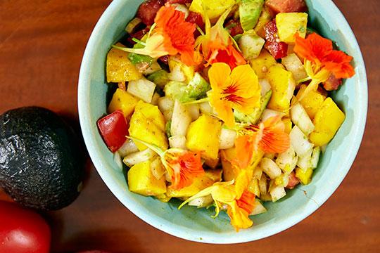 Kim shares her favorite salad recipe- and J tops it with nasturtium blooms
