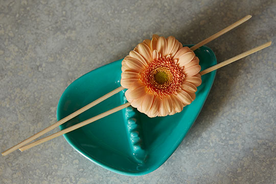 Simple Single flower arrangements can be easy and fun- give it a try- with one Gerbera and a pair of chopstiks... and a vintage ashtray!