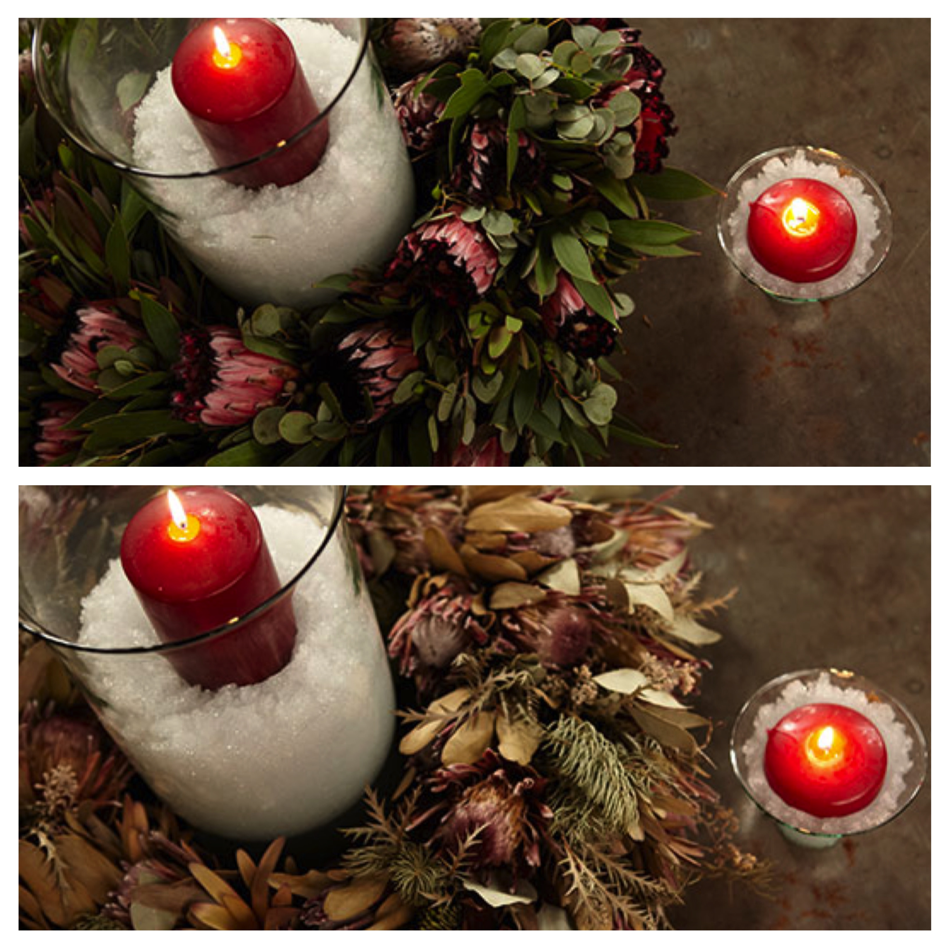 Side by side comparison of a Fresh and Dried Protea Wreath Decoration