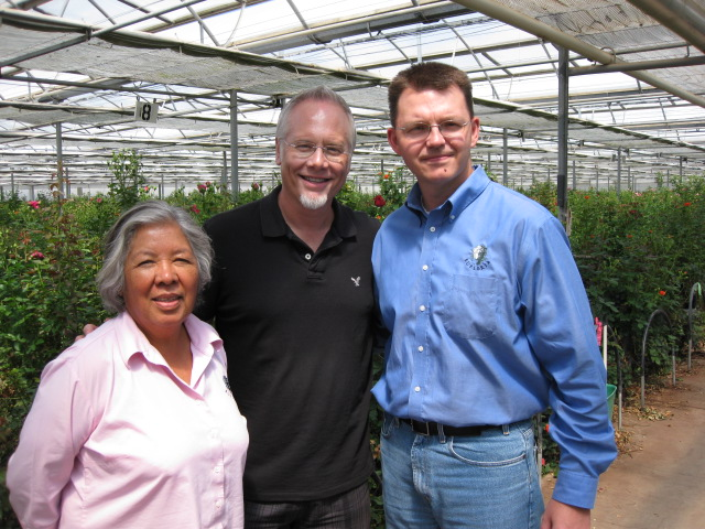 Chad Nelson and Lily Garcia (*retired) at Eufloria Flowers with J Schwanke.