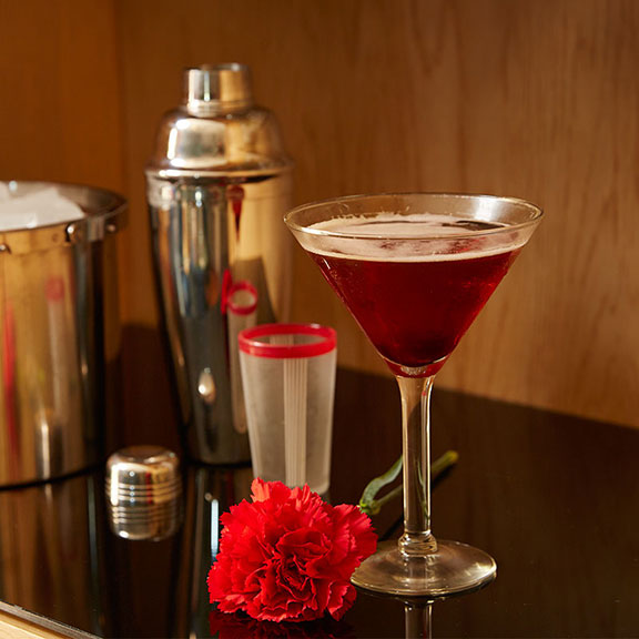 The Carnation Joe Classic Manhattan- served up- with a side of Red Carnation!