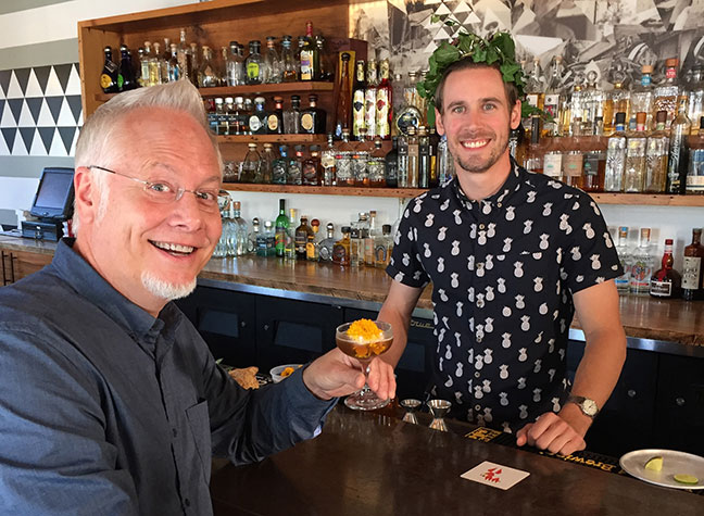 J enjoys the Marigold Agave Cocktail on his visit to Donkey in Grand Rapids!