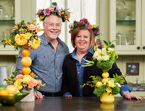 My Friend Catherine Behrendt- drops by the flower studio to create Fruit Kabob Arrangements!