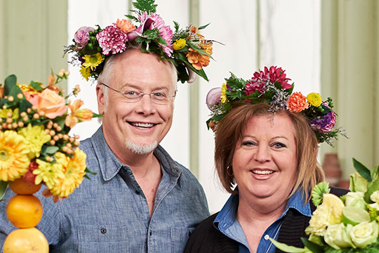 J's Friend Catherine Behrendt from WZZM 13 on your Side joins J in the Flower Studio for Fruit Kabobs
