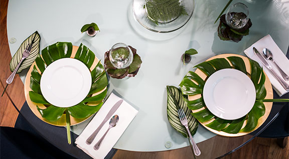 Accenting a table with Monstera- the foliage of the year is exciting!