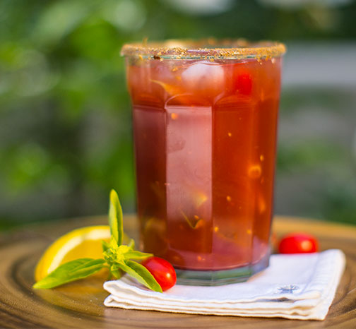 This #FlowerCocktailHour Recipe features Fresh Basil, Tomatos and Balsamic Vinegar!