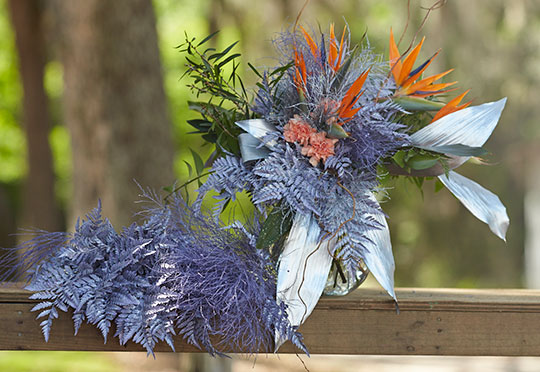 ColorFresh® is a Colorful Foliage option from FernTrust- here's a wedding bouquet with ColorFresh on Location at FernTrust!
