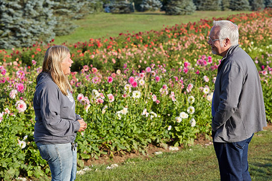 J Visits with Life Long Dahlia Farmer- Jan Brondyke at her Hamilton Dahlia Farm!