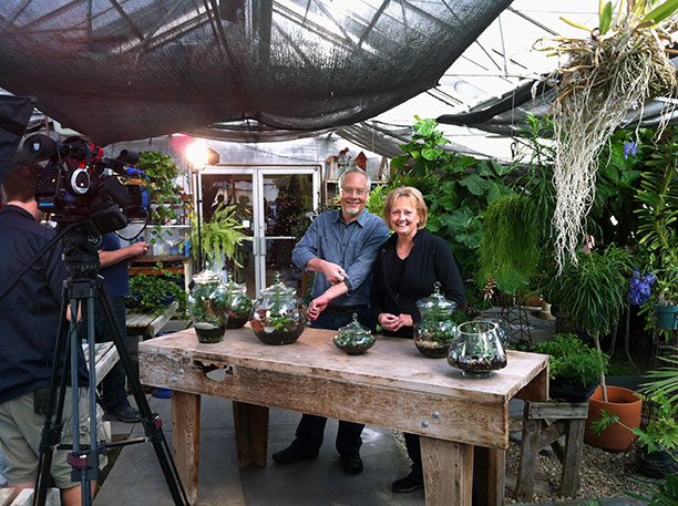 My sister and I get ready to film the Terrariums in the Garden Center at Greens Greenhouses in Fremont Nebraska!
