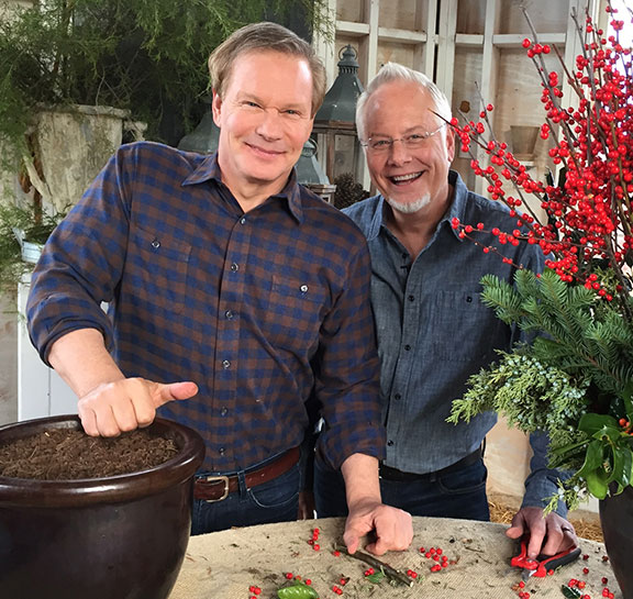On the Set with Allen- as we created Christmas Flower Decorations for his TV Show