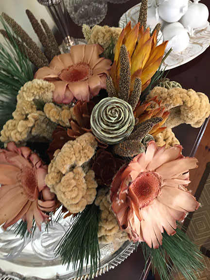 J created Dried Flower decor for P Allen's Moss Mountain Holiday Festivities!