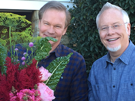 J and Allen- creating some Flower Fun in the Moss Mountain Garden!