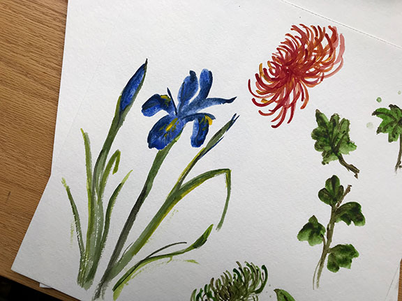 "A few of my ""rough"" Water color flower attempts- for practice!"