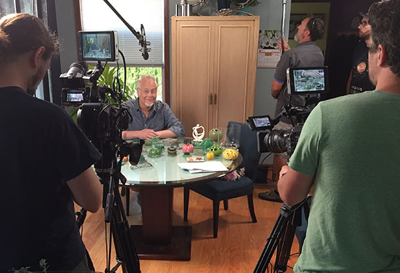 J and the crew in the dining room- filming the segment about flower frogs for Life in Bloom!