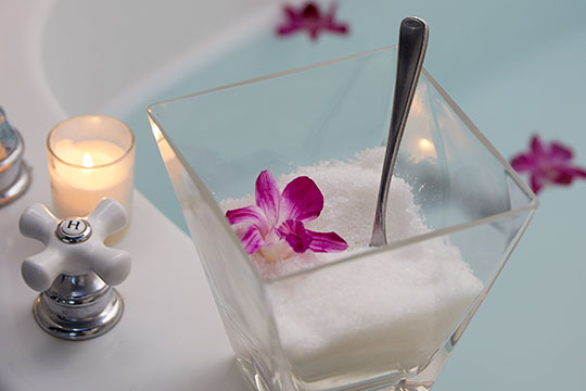 Enjoy a soak with Orchid Infused Bath Salts from this simple easy flower inspired recipe on Life in Bloom!