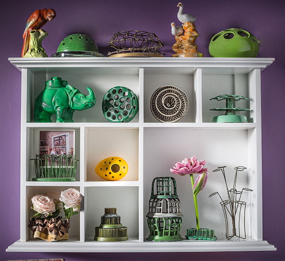 This is just a portion of the flower frog collection at J's home!