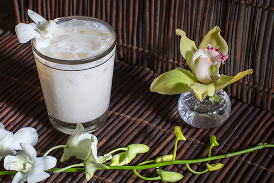 Many don't realize that Vanilla is from orchids- and this flower cocktail hour offering features vanilla vodka!