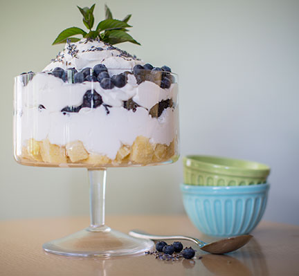 J creates a terrarium inspired dessert with Lavender buds and blueberries!