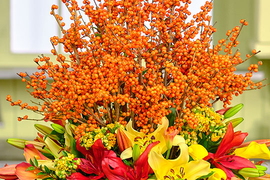Orange Ilex Centerpiece from Sun Valley!