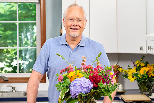Join J Schwanke as he helps you arrange flowers from your garden
