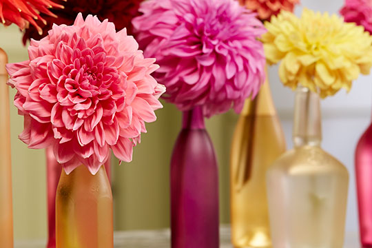 Re-purpose glass bottles into Colorful Vases- for Flowers- with Design Master Color Tools!