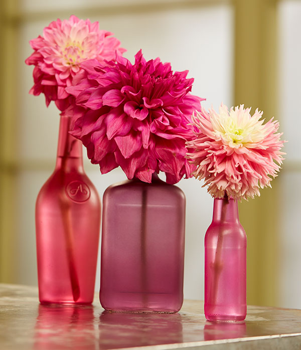 Sometimes a few flowers is better- with these Designer Bottles and Tint-IT- you've got a simple centerpiece- loaded with color!