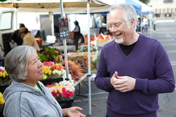 Taking time to talk about Eufloria Flowers- with my Flower Friend Lily Garcia- at the Farmers Market in California!
