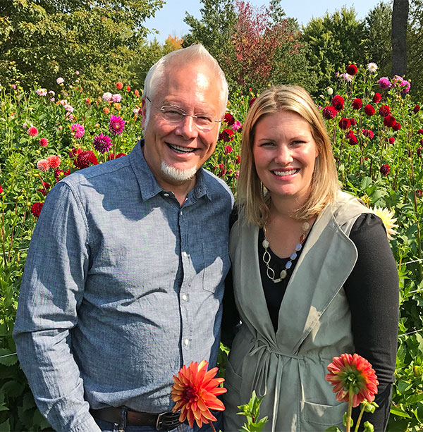 J visits Hope Dahlias - owned by Kristen Farmer and her Mom Barb Esch