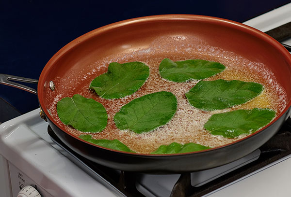 Brown Sage Leaves in butter- about 30 seconds to 1:00 per side... over medium heat