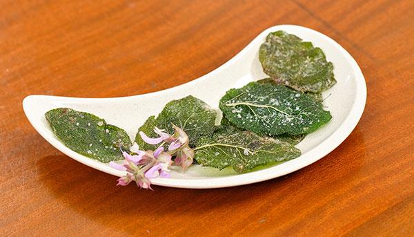 Sage Crisps- garnished with a Sage Blossom!