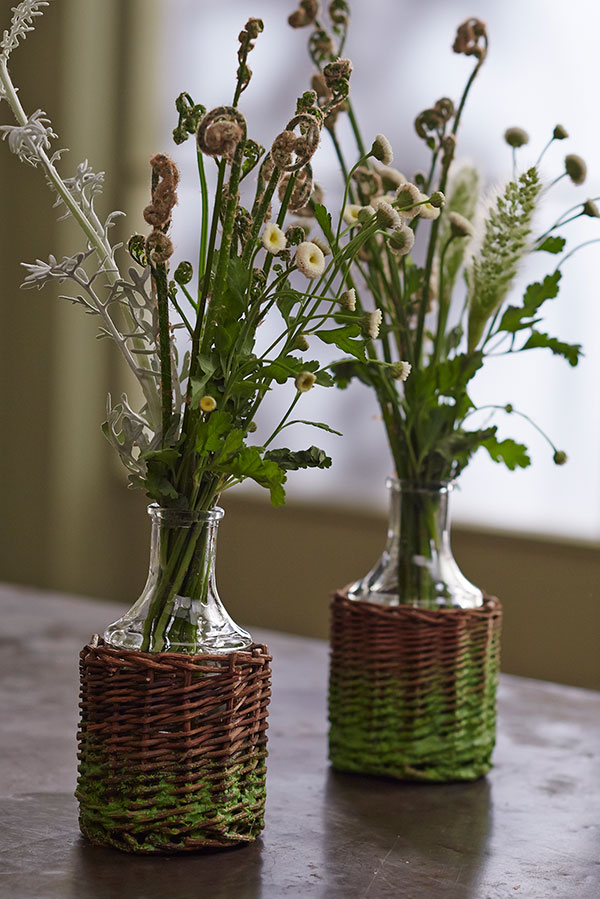 Mossy Texture is added easily to these Wicker Bud Vases with ColorTex® from Design Master!