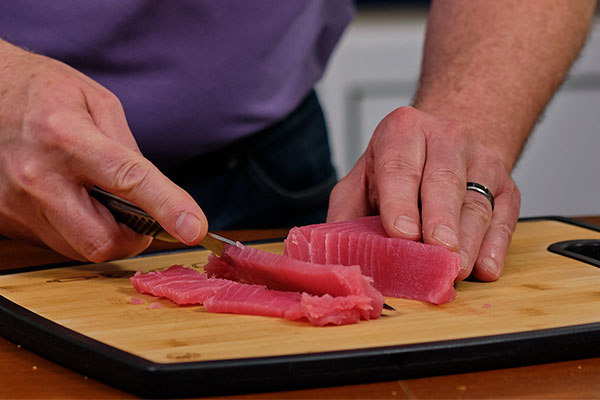 Tuna sliced thin can quickly help you replicate a rosette - and help you create this Sashimi Tuna Rose!