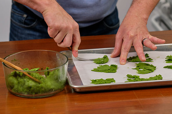 Using an Off-set spatula- to create the moss cookies- is a key technique- and it works will with parchment paper too!