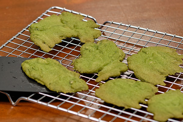 Once cooked- the Moss Cookie Magic is revealed- flipping over the cookie - reveals the back side- that looks even more like Fresh Moss!