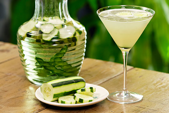 One of J's Favorite Drinks- the Cucumber Infused Vodka Gimlet!