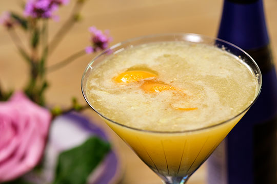 Flower Cocktail with Saké and Bourbon- with this Orange Blossom Martini
