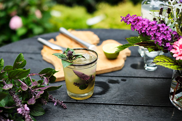 Enjoy Flower cocktail with this garden inspired Cocktail- featuring Pineapple Juice, Basil, Lime and Gin!