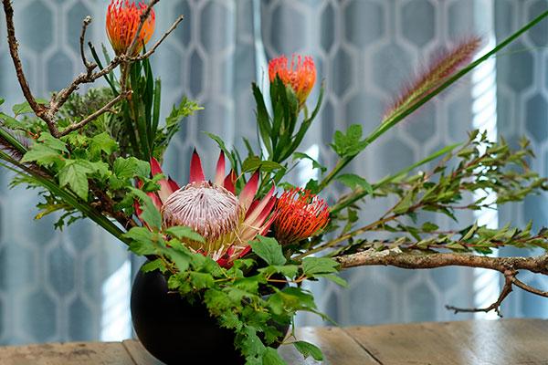 J shares the art of Ikenoba Flower Arranging - he learned in Japan in 1978.