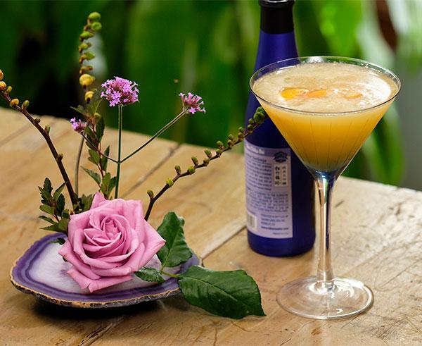 Flower Cocktail Hour features this Ginger Saké Orange Blossom Recipe.